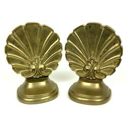 Brass Bookends Fan Floral Shell Solid Antiqued Tic Made In India
