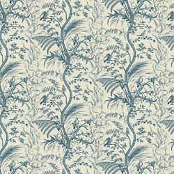 Fabric -brunschwig And Fils - Bird And Thistle Print - Blue
