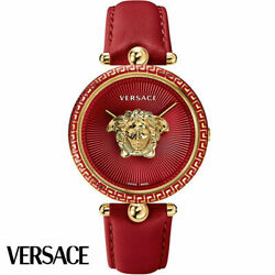 Versace Vco120017 Palazzo Empire Gold Red Leather Womenand039s Watch New
