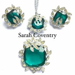 Sarah Coventry Emerald And Clear Crystal Vintage Necklace Set