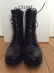 Celine 1350 Womenandrsquos Combat Army Black Leather Boots Size 38 Made In Italy