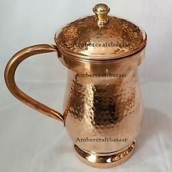 Vintage Indian Hammered Handmade Pure Copper Jug With Lid Water Storage Pitcher