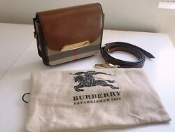 Preowned Burberry Crossbody Small Petit Dark Tan Check And Leather Gold Hardware $600.00
