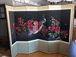 Mint 6 Panel Oriental Asian Silk Embroidered Screen Peacocks Roses Room Divider