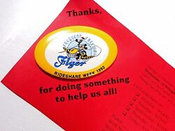 Disney Mickey Mouse Frequent Freeway Flyer Rideshare Week 1992 Pinback Button ++