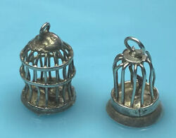 Lot 2 Beautiful Vintage Sterling Silver Rare Hand Made Bird Cages
