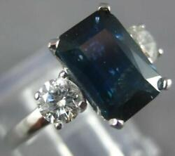 2.50ct Diamond And Aaa Sapphire 14kt White Gold Emerald Cut Engagement Ring 27241