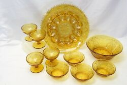 Tiara Amber Sandwich Glass Lot Of 10 Deviled Egg Plate Ice Cream Dishes Bowls