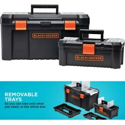 Tool Box Plastic Storage Oragnizer Box Set Large And Small Toolboxes Black And D