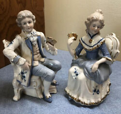 Norleans Blue And White Victorian Couple Figurine Playing Cards Japan Exquisite