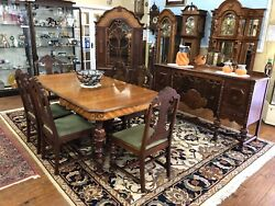 1941 9 Pc Art Deco Dining Set - Sideboard, Dining Table, 6 Chairs, China Hutch