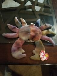 Beanie Babies Ty Claud The Crab Rare P.v.c. Pellets Included