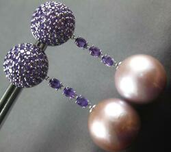 Extra Large 3.22ct Aaa Amethyst And Pink South Sea Pearl 18kt White Gold Earrings