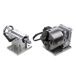 Cnc Gearbox Router Rotary A 4th Axis 4 Jaw 100mm Chuck 201 Tailstock Engraving