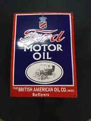 Porcelain Ford Motor Oil Enamel Sign Size 18 X 24 Inches