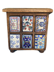 Vintage Wood Apothecary Spice Cabinet Chest 6 Hand Painted Porcelian Drawers