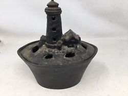 Vintage Cast Iron Light House Stove Top Humidifier Steamer Wood Stove