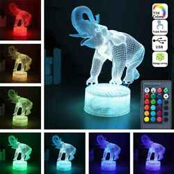 3d Elephant Lamps Remote Control Touch Switch Led 16 Colorful Light Change Gift
