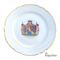 Antique Russian Imperial Porcelain Plate Ushakov Armorial Hand Painted