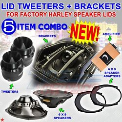 Horn Tweeter Bracket For Factory Harley Touring Lids + St25 + U69-s + Micro2v2 +