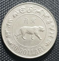 1986 Singapore 10 Dollar Year Of Tiger Zodiac Coin Andoslash40mm +free1 Coin 12456