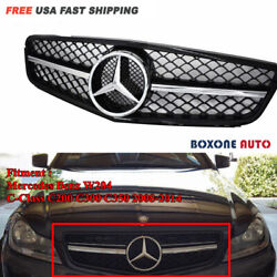 Amg Style Chrome Black Grille For Mercedes Benz C-class W204 C300 C350 08-14