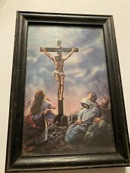 Vintage Religious 3d Holographic Jesus God Crucifix Cross Picture Framed Old A3