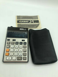 Vintage Casio J-1 Calculator 1970and039s With Operating Manual And Case - Free Shipping
