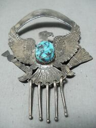 Extraordinary Navajo Sleeping Beauty Turquoise Sterling Silver Eagle Pin