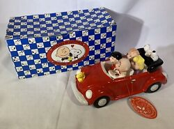 """Rare Willitts Peanuts Vw Beetle Music Box """"king Of The Road"""" Ceramic New In Box"""