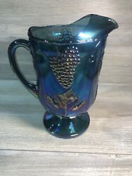 Indiana Glass Blue Green Carnival Glass Pitcher Harvest Grape And Leaf Pattern