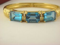 Statement Blue Topaz And Diamond Bracelet Bangle In 14k Solid Yellow Gold.