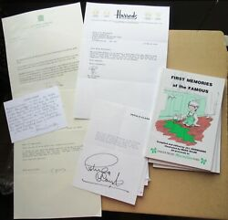 First Memories Of The Famous - 49 Original Signed Letters Diana Rigg Tony Blair