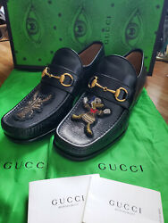 Rare Donald Duck Menand039s Black Leather Horse-bit Loafers Size 8 Size 7 Us