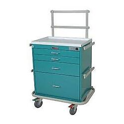 Harloff 7351 Short 4 Drawer Anesthesia Cart With Electonic Lock Specialty Packa