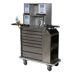 Harloff 6025-tc Stainless Steel 8 Drawer Cast Cart W/top Compartment Multiple L