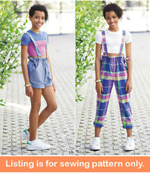 Sewing Pattern - Sew Girls Clothes Clothing - Tween Teen Plus Size Overalls 8354