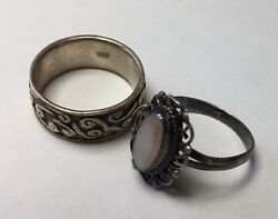 Vintage Sterling Silver Rings Size 7 With White Stone And Band 7.6g