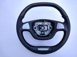 Mercedes S W222 Steering Wheel Logo Maybach Carbon Fiber Leather