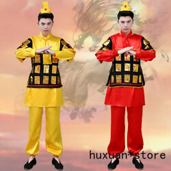 China Male Hanfu Cosplay Ancient Performing Yellow Stage Costumes Drama Theme