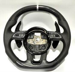 Oem Audi A4 A3 A5 Q3 Q5 Carbon Fiber Steering Wheel Black Leather Perforated