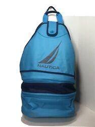 Nautica Insulated Beach Cooler Tote Collapsible Holds 18 Cans Mesh Backpack Blue $21.59