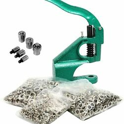 Hand Press Eyelet Grommet Machine Punch Tool Kit With 3 Dies And1500 Pcs Grommets