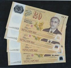 4 Pcs. 2007 Singapore Brunei 40th Polymer 20 Running Number Banknote Unc 69