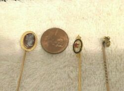 3 Antique Gold Hat/stick Pins. One 18k White And Two 14k Yellow Reduced Ships Free