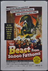Beast From 20,000 Fathoms 1953 27x41 Linenbacked Movie Poster Paul Hubschmid