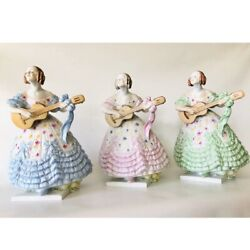 Herend Deryne Woman Playing A Guitar Large 14 Tall Hungarian Porcelain Figurine
