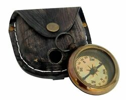 Brass Pocket Compass With Leather Box Nautical Locket Compass Set Of 20 Unit