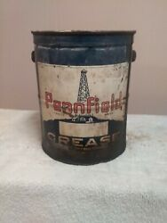 Rare Vintage Pennfield Grease Oil Can 10lbs Quaker Gas Well Pump Advertising