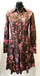 Superb Paul Smith Brown Flowery Long Sleeves Shirt Dress Size 40 Uk 12